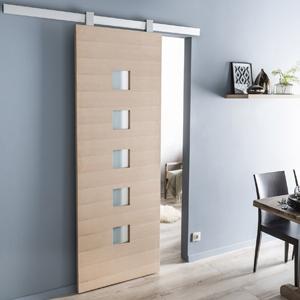 Porte coulissant d 39 interieur pr fabriqu e manuel ou - Installer une porte coulissante ...
